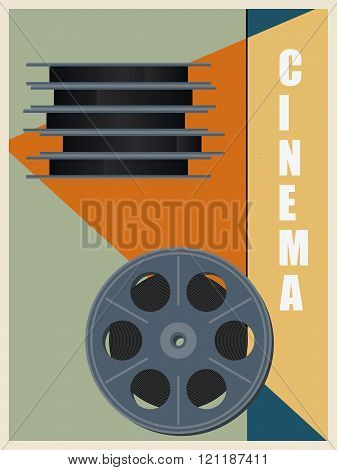 Retro Bobbin With Cinema Film. Vintage Style Poster. Vector Illustration.