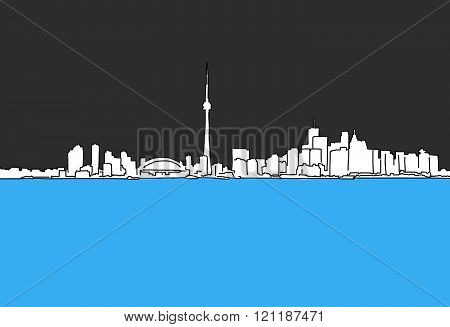 Vancouver Downtown Panorama Outline Sketch