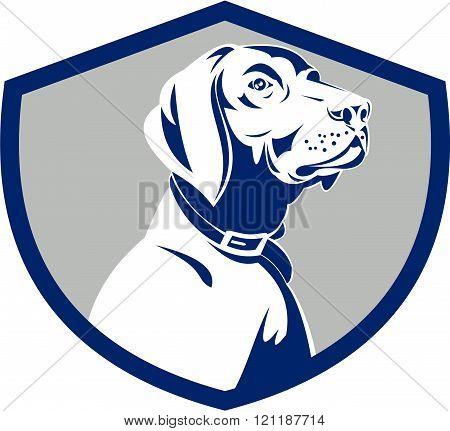 Dog Pointer Head Profile Side Crest Retro