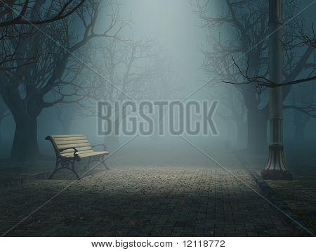 Banco solitario en Parque de niebla