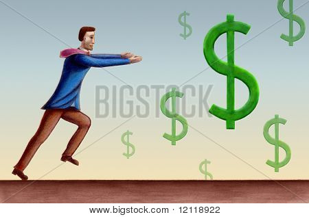 Business man chasing some falling dollar symbols. Hand drawn illustration