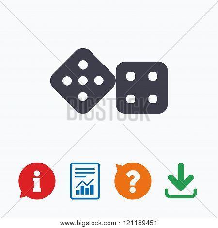 Dices sign icon. Casino game symbol.