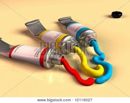 Three opened paint tubes. CG illustration.