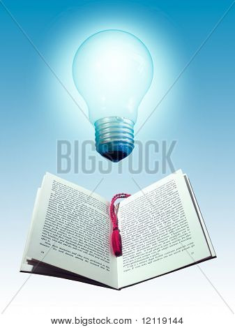 Book and light bulb. Photo manipulation.