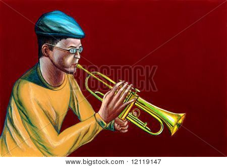 A jazzman playing trumpet. Hand painted illustration.