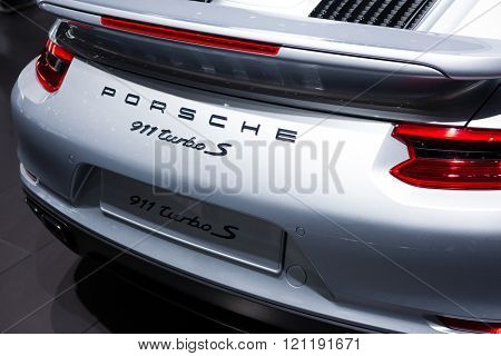 GENEVA, SWITZERLAND - MARCH 1: Geneva Motor Show on March 1, 2016 in Geneva, Porsche 911 Turbo S, rear badge view