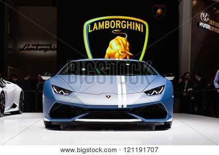 GENEVA, SWITZERLAND - MARCH 1: Geneva Motor Show on March 1, 2016 in Geneva, Lamborghini Huracan LP 610-4 Avio, front view