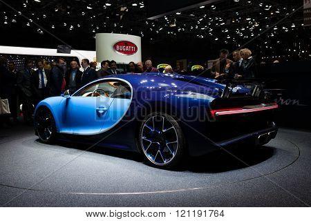 GENEVA, SWITZERLAND - MARCH 1: Geneva Motor Show on March 1, 2016 in Geneva, Bugatti Chiron, rear-side view