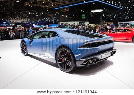 GENEVA, SWITZERLAND - MARCH 1: Geneva Motor Show on March 1, 2016 in Geneva, Lamborghini Huracan LP 610-4 Avio, rear-side view