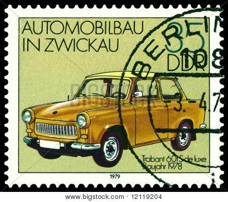 Vintage Postage Stamp. Old Car Trabant 601S - 1978.