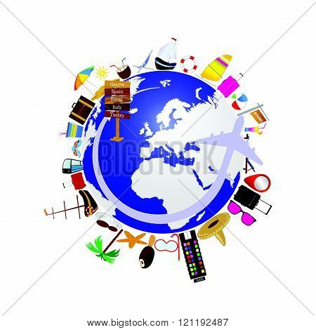 Planet Earth With Travel Icon Illustration