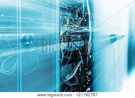 Front communication equipment with the innards in a series of data center. motion blur