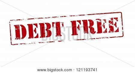 Rubber stamp with text debt free inside vector illustration