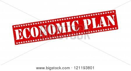 Rubber stamp with text economic plan inside vector illustration