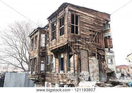 Old and Abandoned building in Istanbul city, Turkey