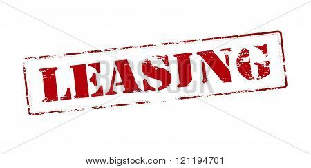 Rubber stamp with word leasing inside vector illustration