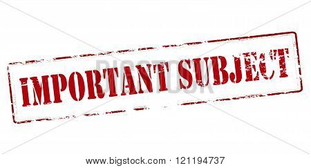 Rubber stamp with text important subject inside vector illustration