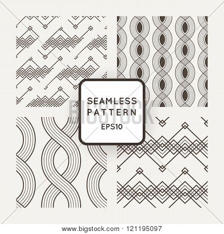 Set of vector seamless patterns with braids, ropes, bounds