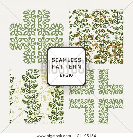 Set of vector seamless color pattern, intersecting lines, and wicker in Irish style