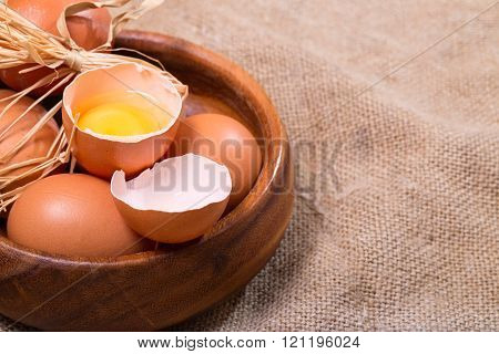 Wooden Bowl With Eggs, Rural Style