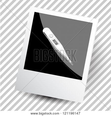 thermometer. Photoframe. Raster icon.