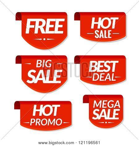 Sale tags labels. Special offer, hot sale, best deal, big sale, mega sale, hot promo discount banner