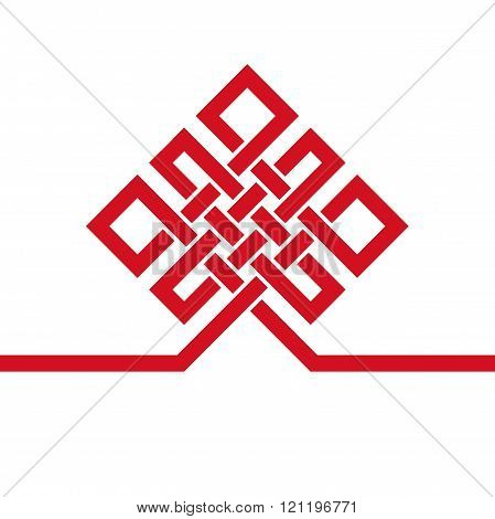 Auspicious Endless knot.Buddhist symbol.Red template