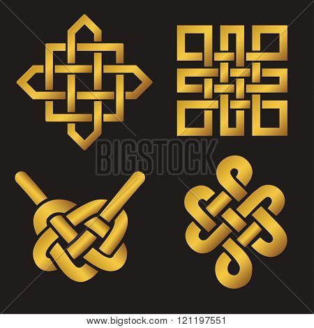 Auspicious Endless knots set.Buddhist symbol.Gold