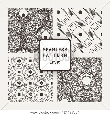 Set vector seamless pattern of interlocking lines and points