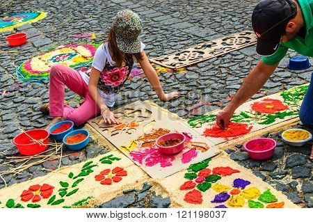 Decorating Lent Carpet With Dyed Sawdust, Antigua, Guatemala