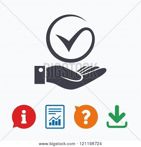 Tick and hand sign. Palm holds check mark symbol