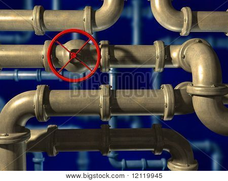 Crossing pipes system on blue background. CG illustration.