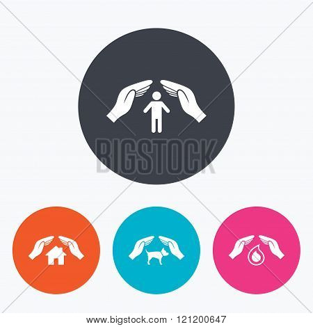 Hands insurance icons. Human life-assurance sign