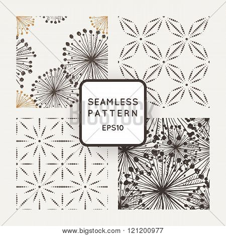 Set of vector seamless patterns with grungy hand-drawn elements and dots flowers