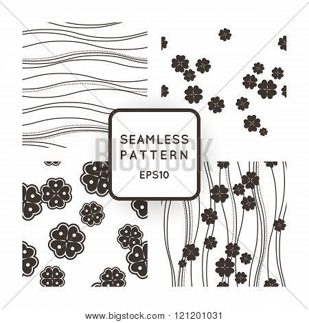 Set of vector seamless monochromatic patterns with lines and clovers