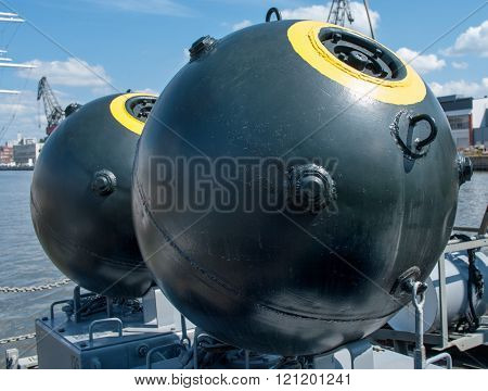 Naval Mine As Part Of The Equipment Ship