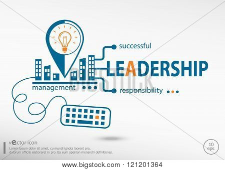 Leadership Word Cloud And Marketing Concept.