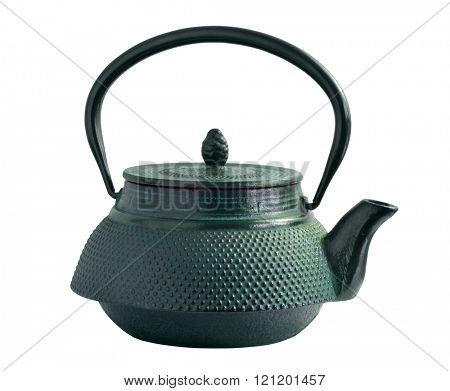 Oriental iron tea pot covered with green color paint. Isolated with path on white background.