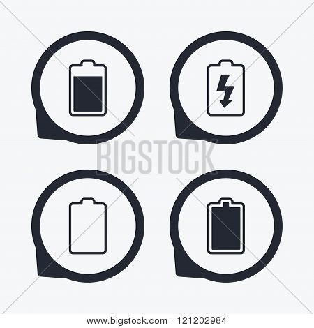 Battery charging icons. Electricity symbol.