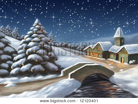 Enchanted Christmas landscape. Digital illustration.