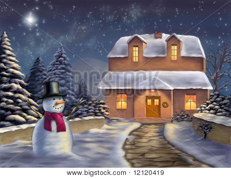 Christmas landscape at night. Original digital illustration.