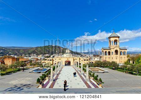 Main entrance in Eastern Orthodox Tsminda Sameba cathedral in Tb