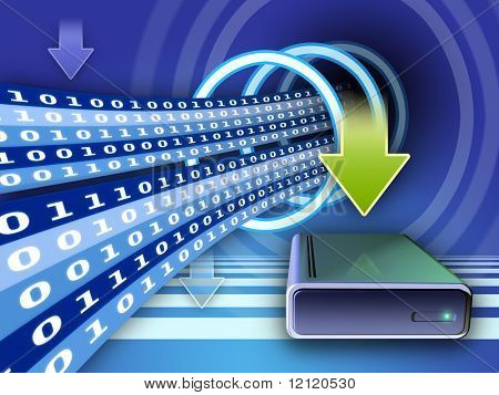 Writing data on an external hard disk. Digital illustration