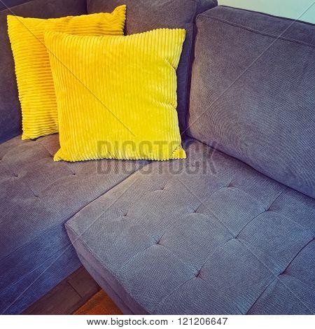 Corner Sofa With Bright Yellow Cushions