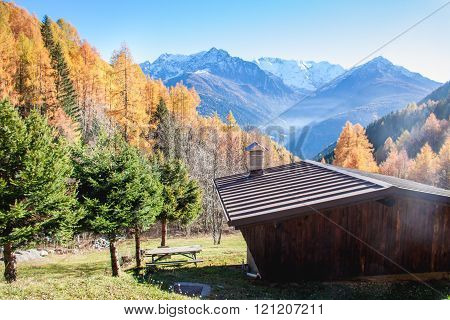 Wooden Chalet In A Colourful Autumnal Panorama In The Italian Alps