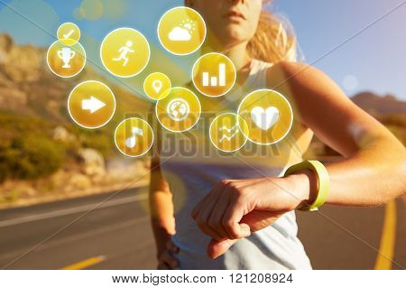 Exercising Woman Checking Activity Tracker With Health Icons