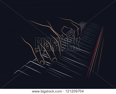 Playing piano keyboard