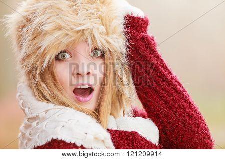 Scared Pretty Fashion Woman In Fur Winter Hat