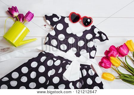 Vogue dress for little girl. Child clothes and accessories.