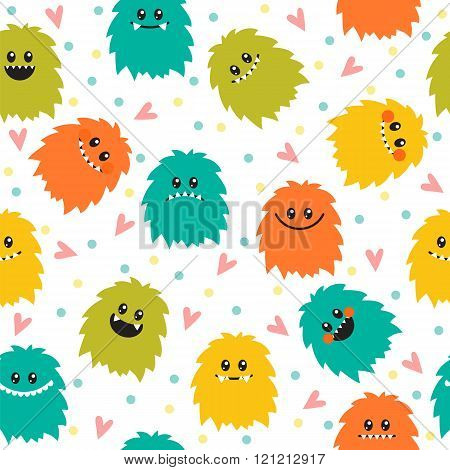 Cute Seamless Pattern With Cartoon Smiley Monsters. Different Fluffy Monsters Characters